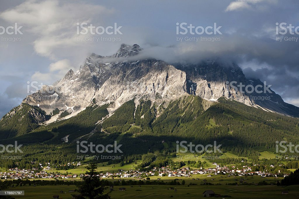 Zugspitze from Ehrwald, Tyrol, Austria royalty-free stock photo