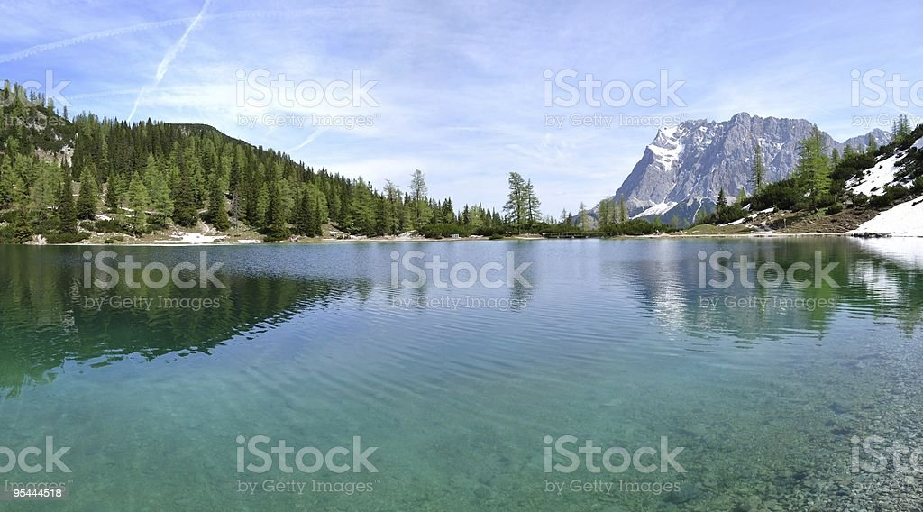 Zugspitze from Seebensee stock photo