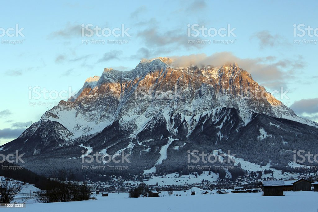 Zugspitze Mountain blue hour stock photo