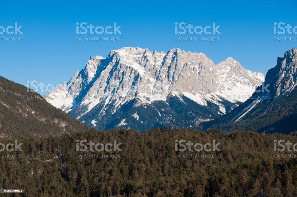 Zugspitze mountain in Germany stock photo