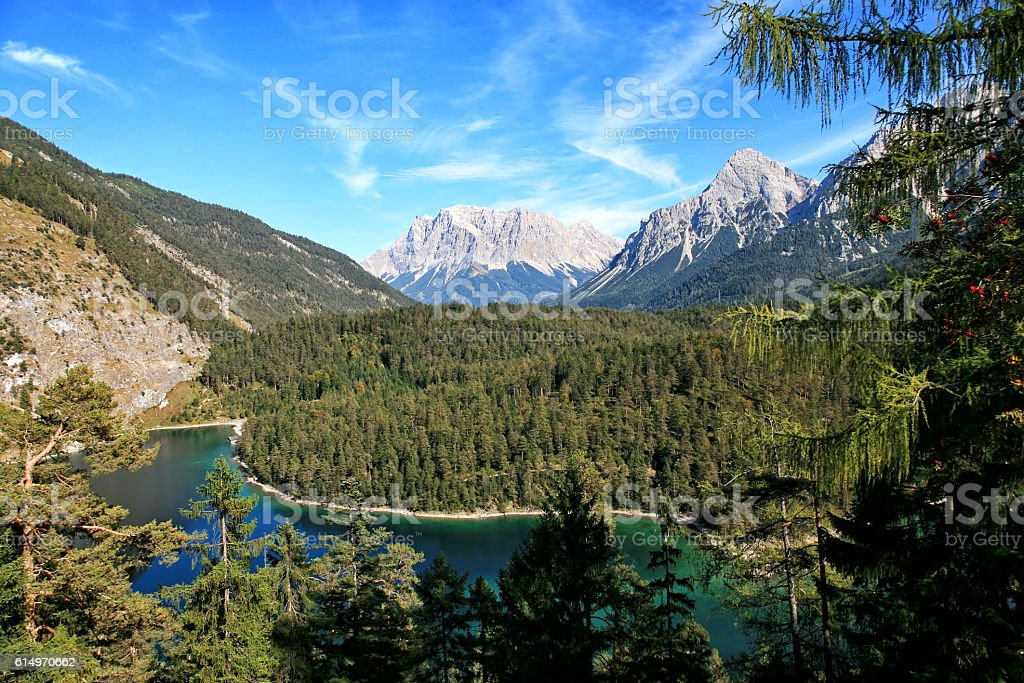 Zugspitze Mountain lake in the German Alps stock photo