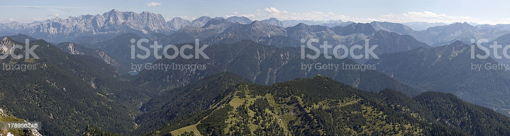 Zugspitze seen from Säuling Mountain (border between Germany and Austria) stock photo