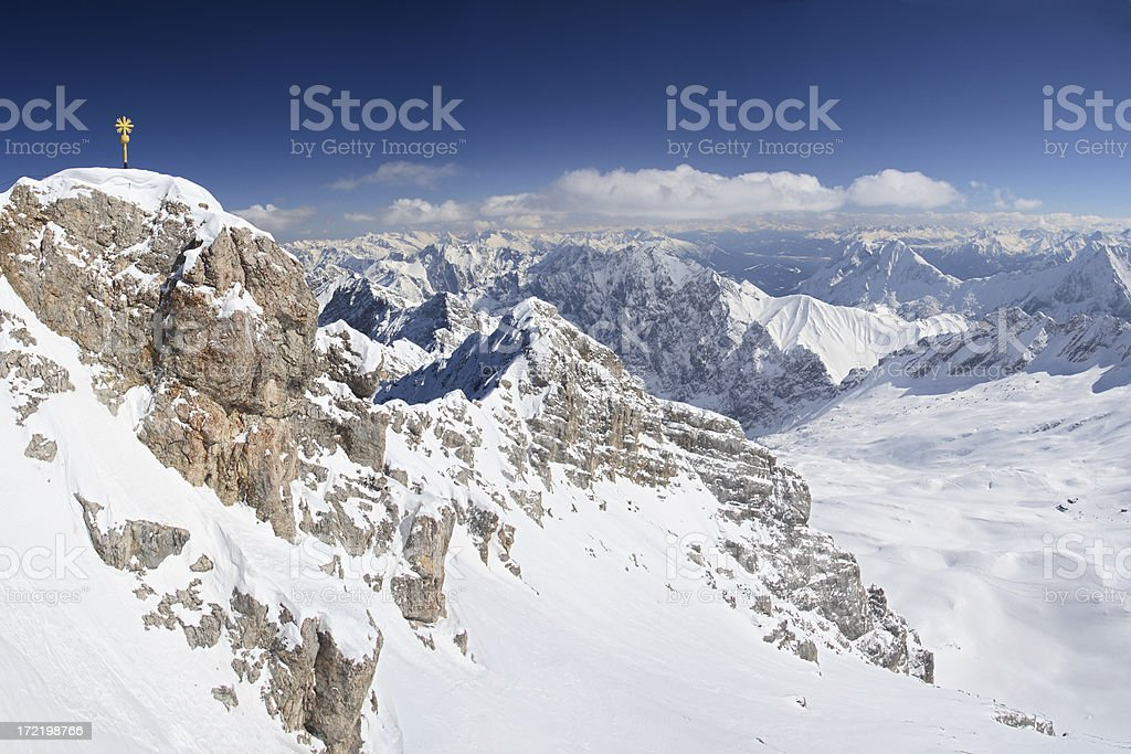 Zugspitze Gipfelkreuz - Bavaria (XXL Panorama) stock photo