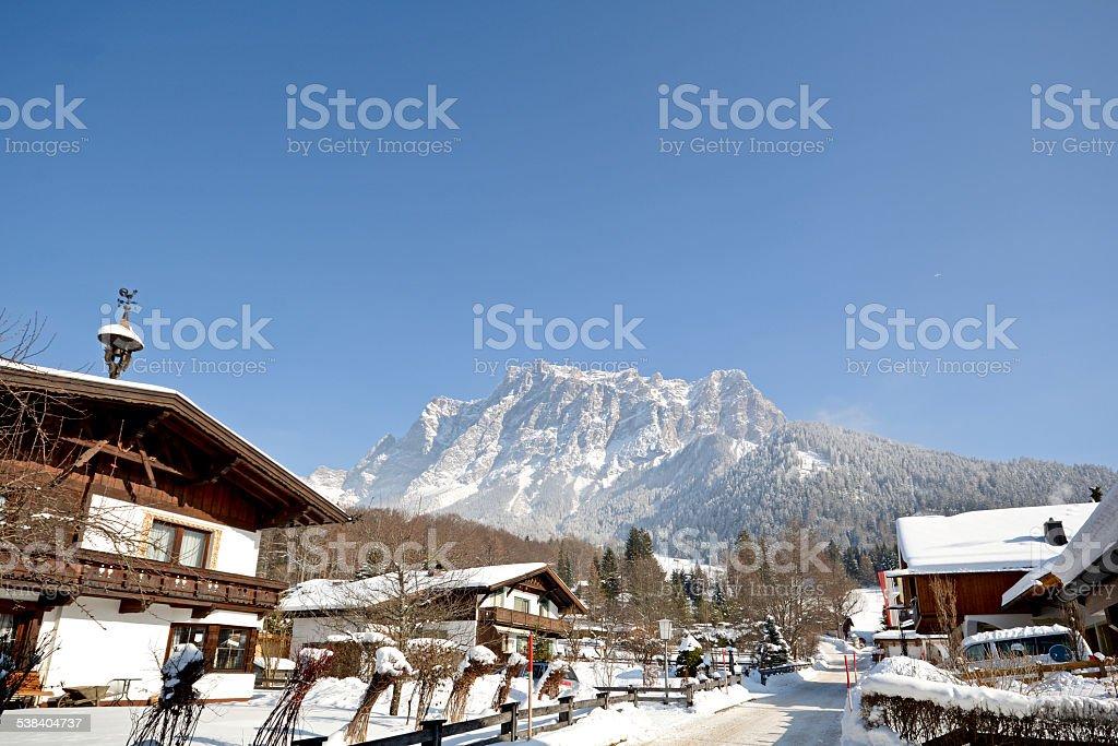 Zugspitze summit, Germany's highest mountain, seen from Ehrwald, Austria stock photo