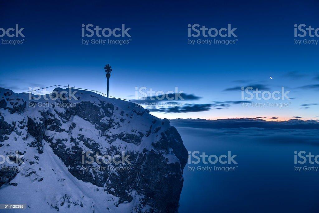 Zugspitze sunrise stock photo