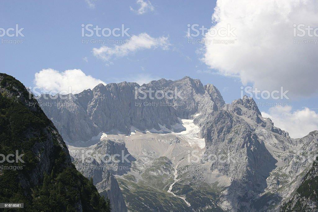 Zugspitze und H?llentalferner ?ber Hollental stock photo