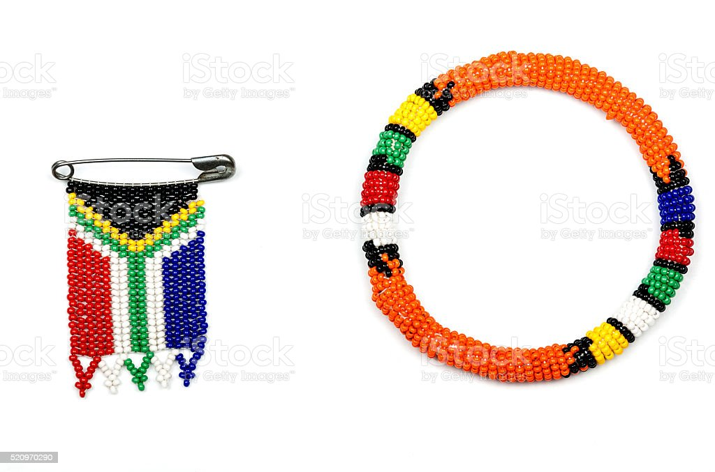 Zulu Beads Threaded into  Armband and  South African Flag stock photo