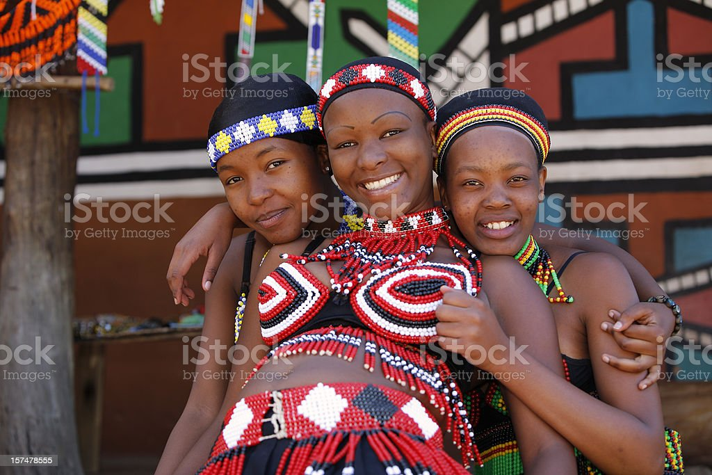 Zulu girls from South Africa stock photo