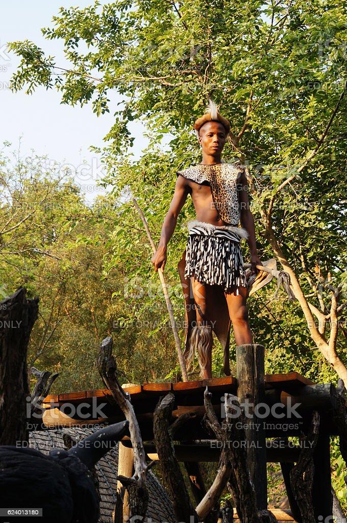 Zulu man wearing warrior dress in Lesedi Cultural village. stock photo