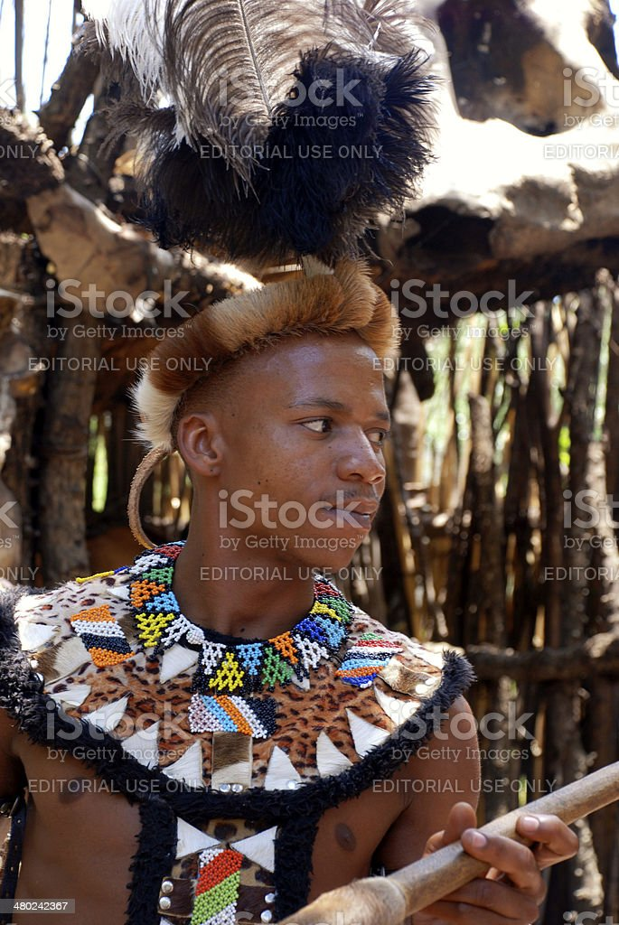Zulu warrior man in Lesedi Cultural village, South Africa. stock photo