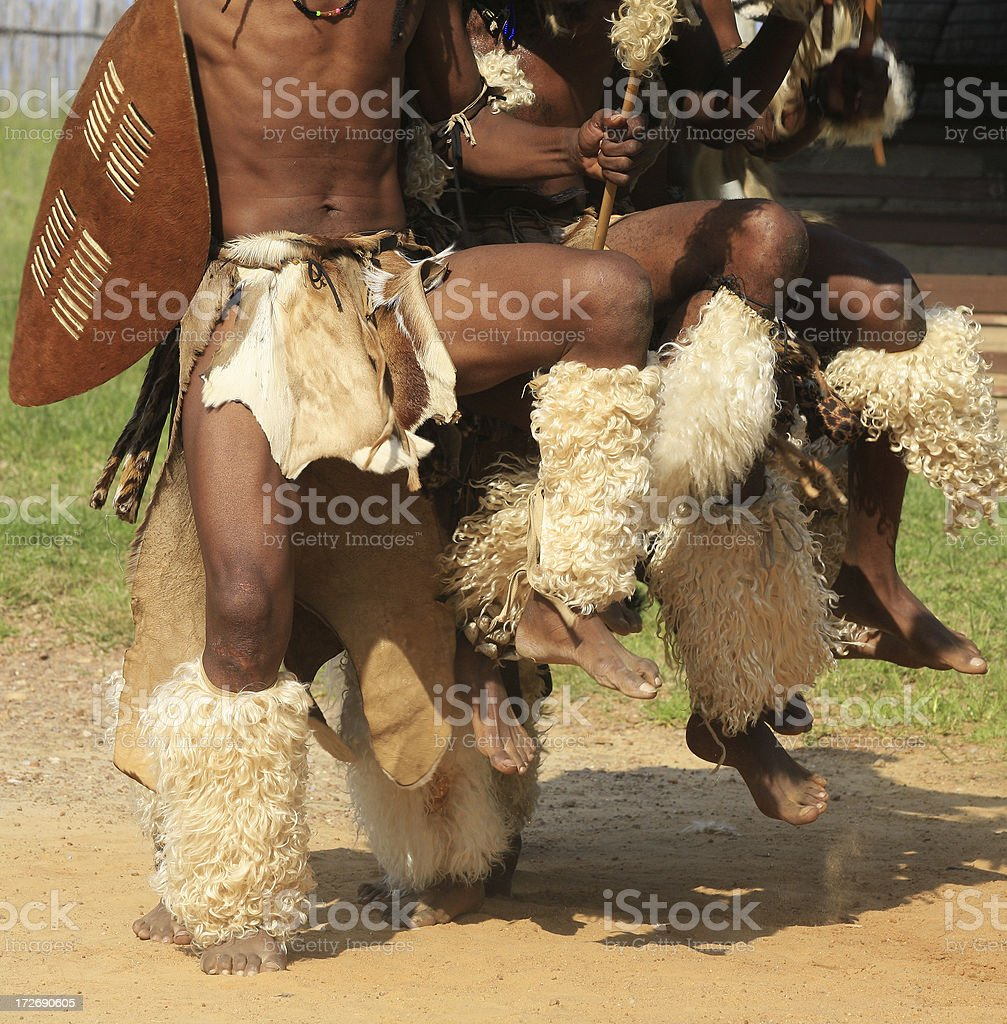 Zulu warriors battle dance stock photo