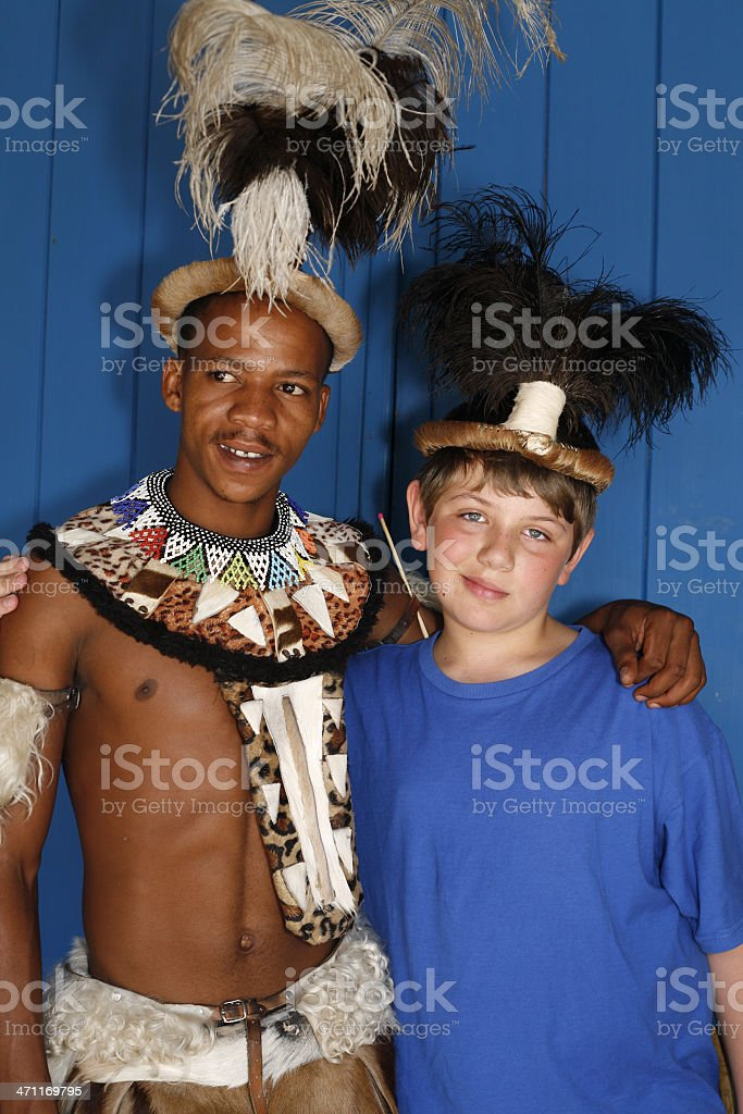 Zulu with young tourist royalty-free stock photo