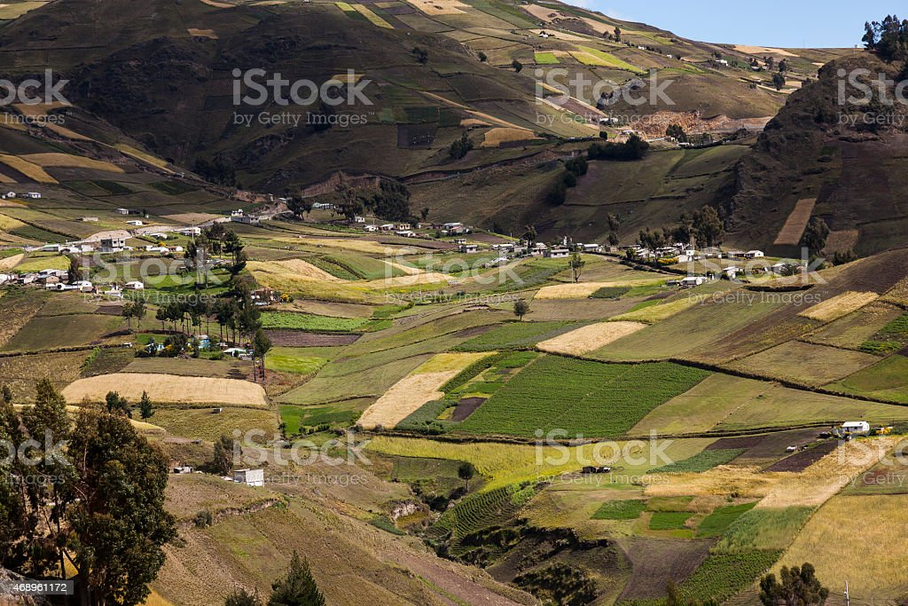 Zumbahua farms and crops stock photo