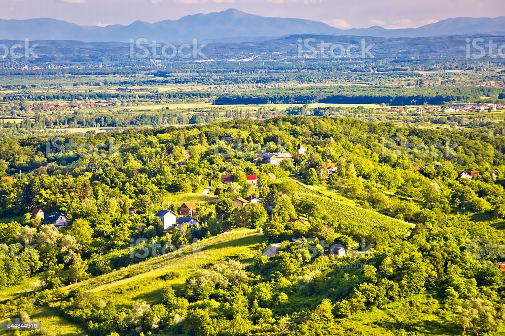 Zumberak hills green landscape view stock photo