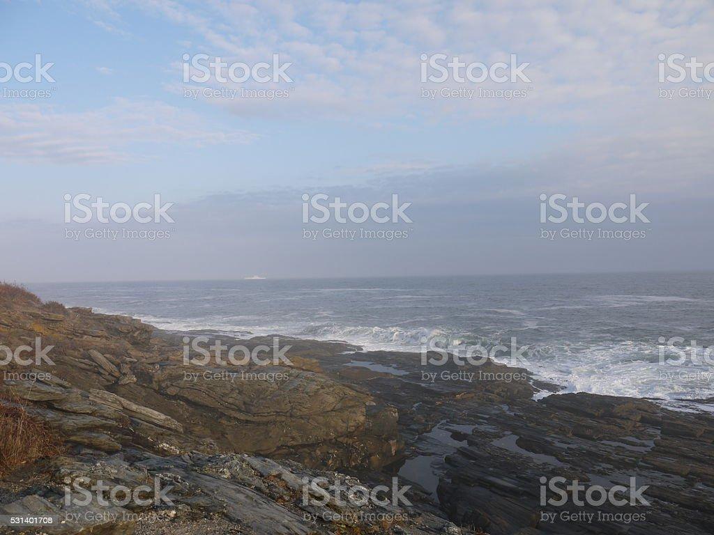 Zumwalt at the Maine coast stock photo