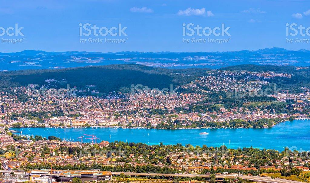 Zurich and Lake Zurich stock photo