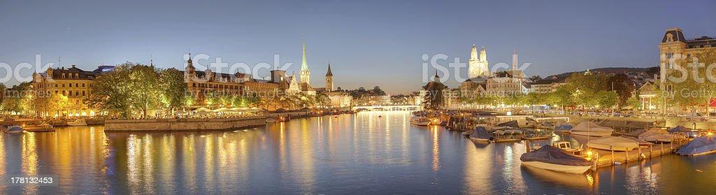 Zurich at night panorama stock photo