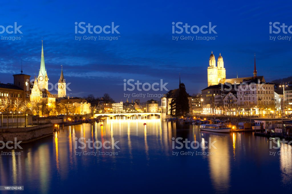 Zurich at night royalty-free stock photo