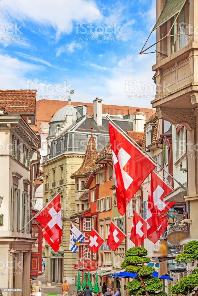 Zurich, Augustiner - Gasse, Lindenhof quarter stock photo