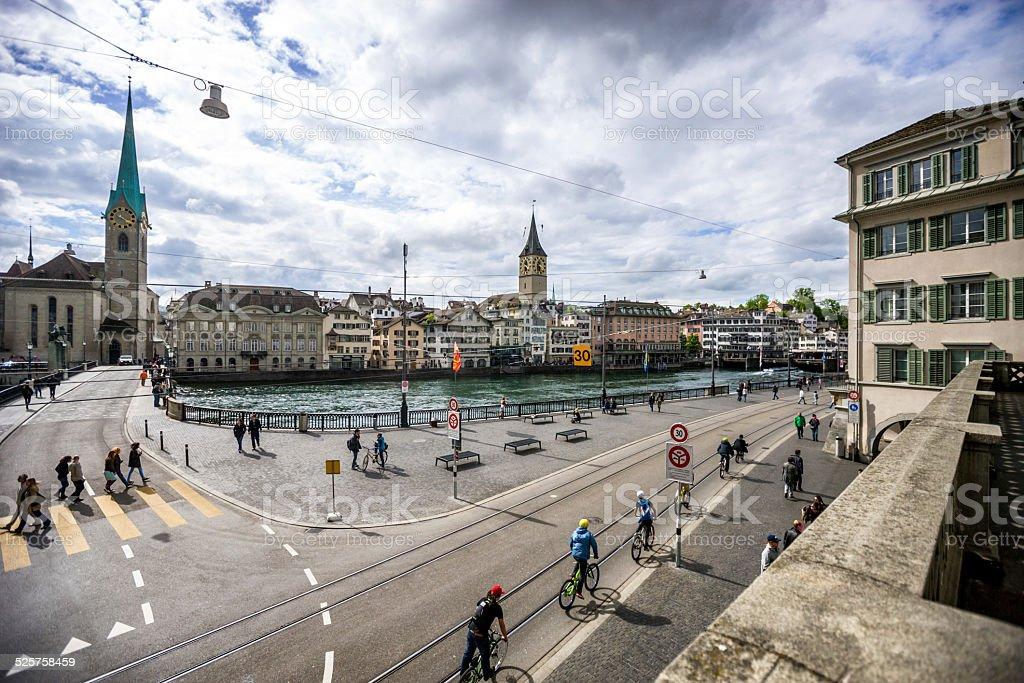 Zurich cityscape - Fraumunster Church, Switzerland stock photo