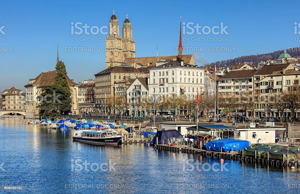 Zurich cityscape in wintertime stock photo