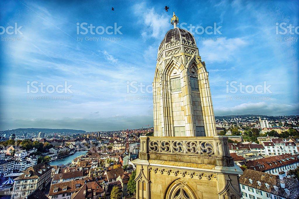Zurich Cityscape Taken from Grossmunster Church Towers, Switzerland stock photo
