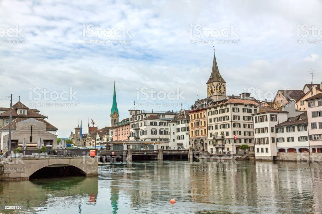 Zurich downtown, Fraumunster and St. Peter church stock photo