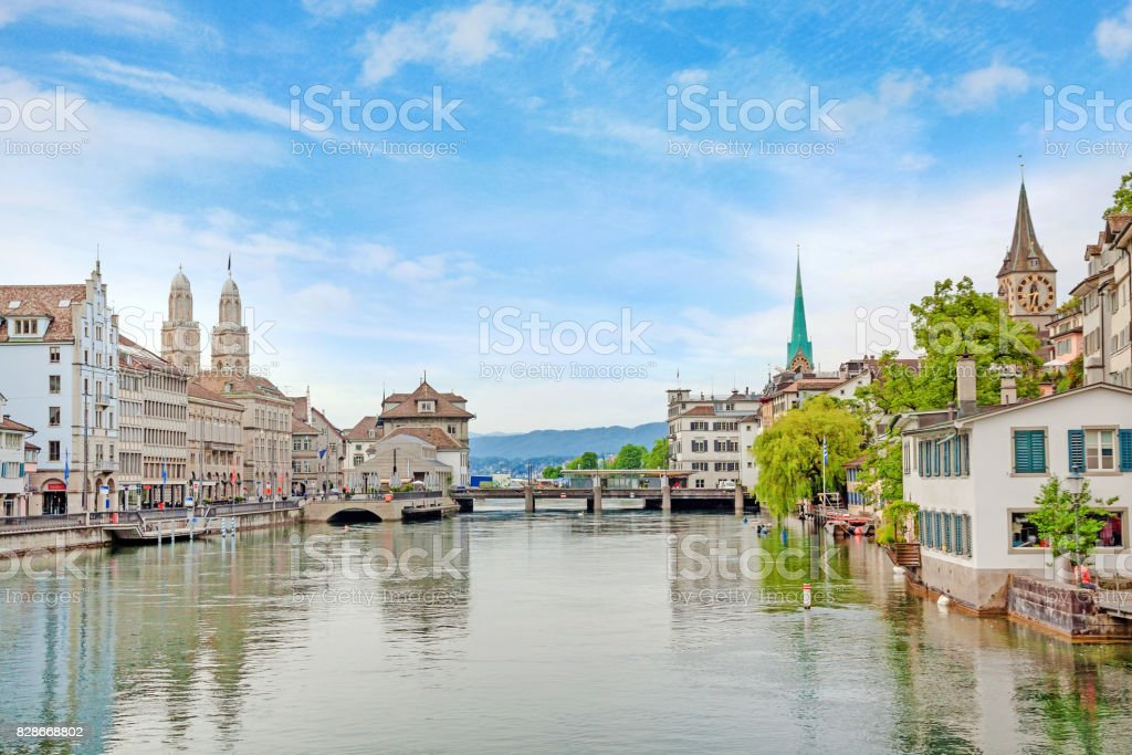 Zurich downtown, Limmatquai with Grossmunster, Fraumunster and St. Peter church stock photo