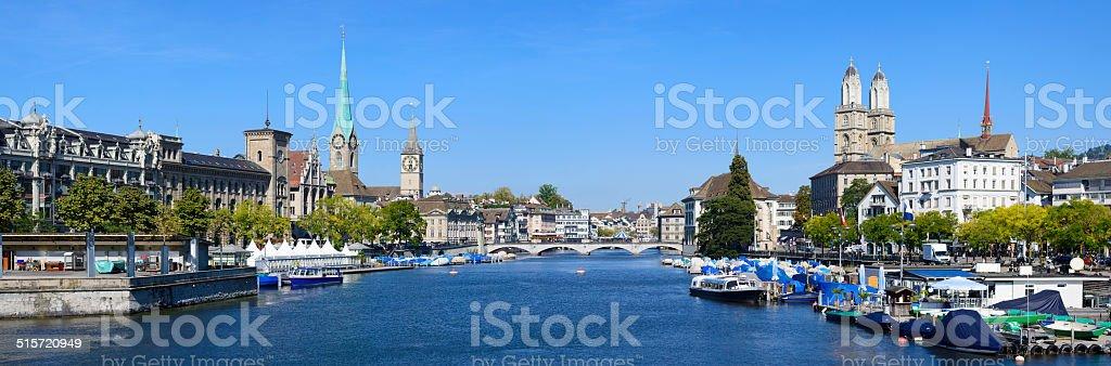 Zurich Fraumunster Church and City Skyline Switzerland stock photo