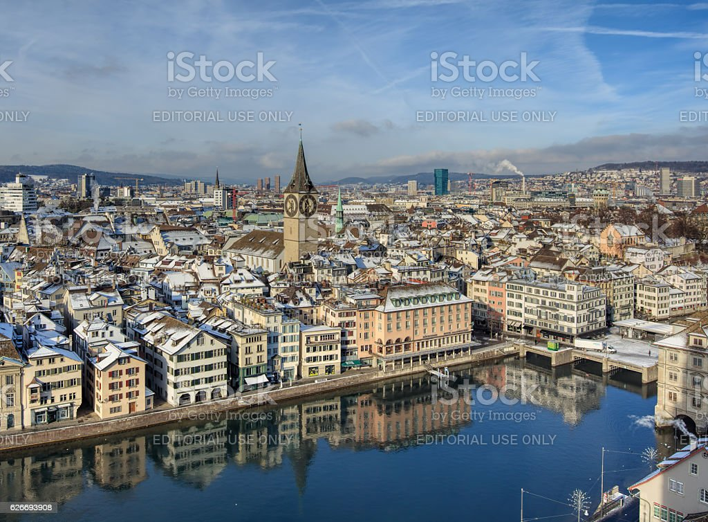 Zurich in wintertime stock photo