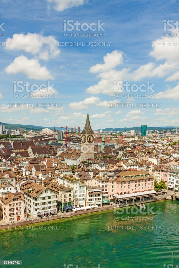 Zurich inner city / downtown, St. Peter church and town hall - aerial view towards bridge Rathausbrucke stock photo