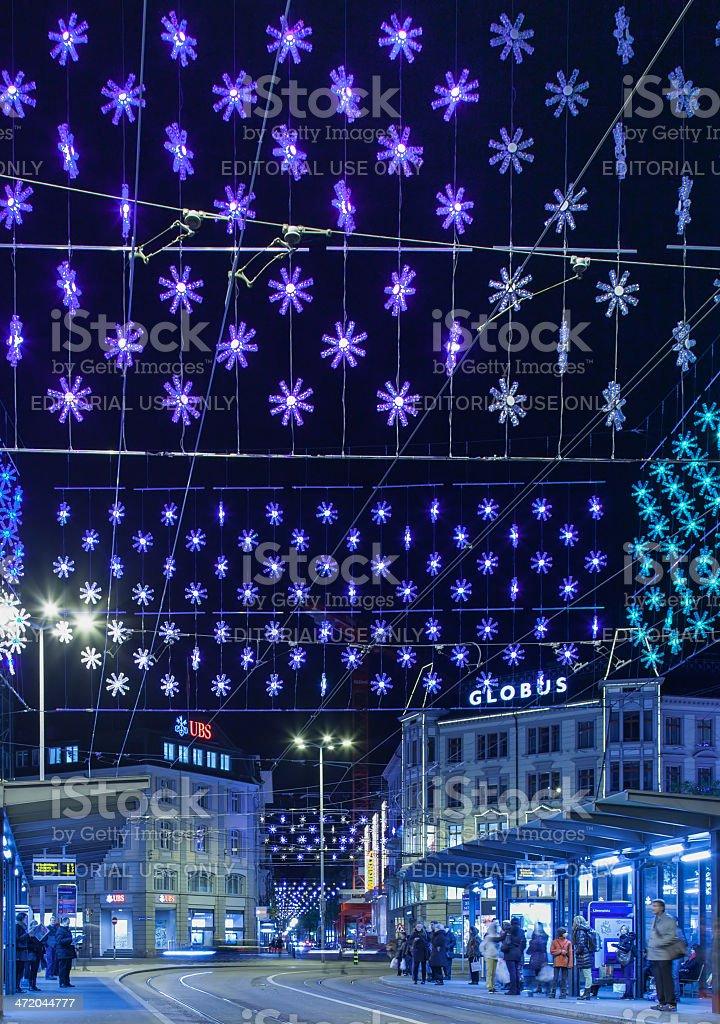 Zurich, Loewenplatz square illuminated for Christmas stock photo