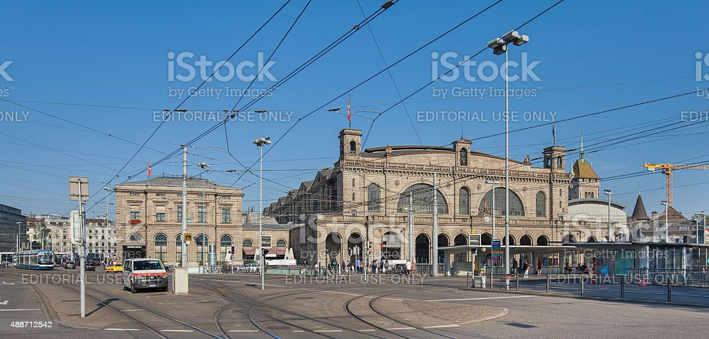 Zurich Main Railway station building stock photo