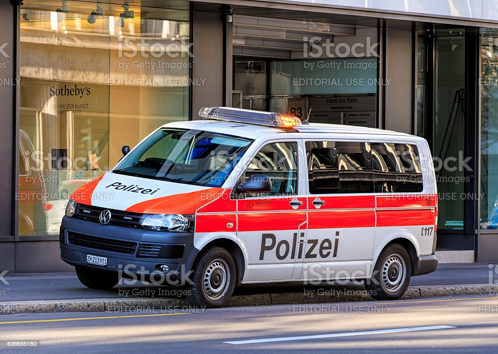 Zurich Municipal Police van on Tahlstrasse street stock photo