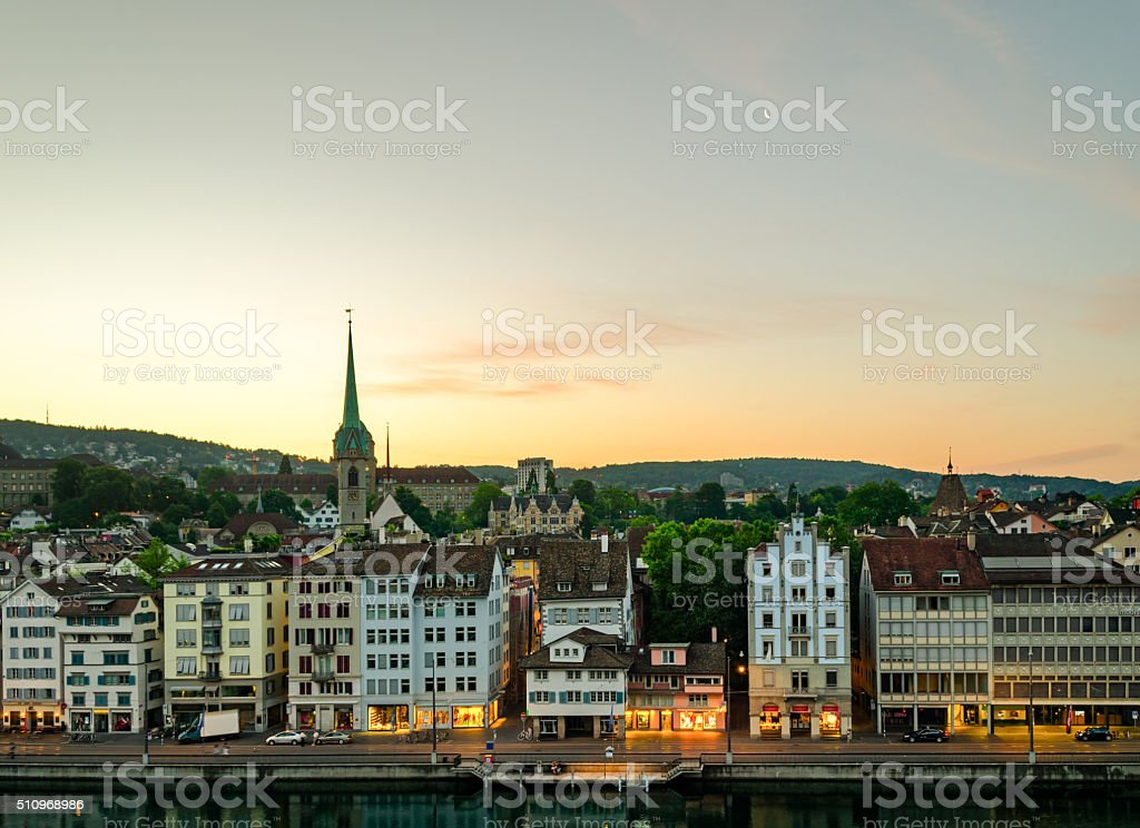 Zurich (Switzerland), old town and Limmat river at sunrise stock photo