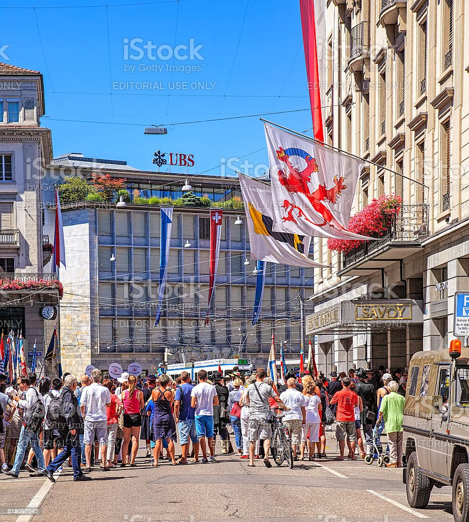 Zurich on the Swiss National Day stock photo