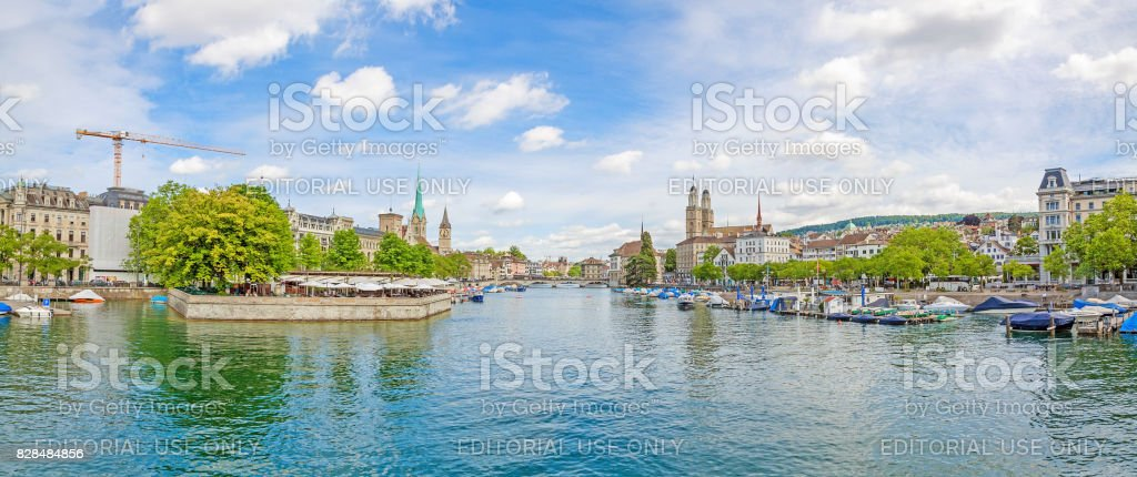 Zurich panorama from Quaibrucke, river Limmat in front stock photo
