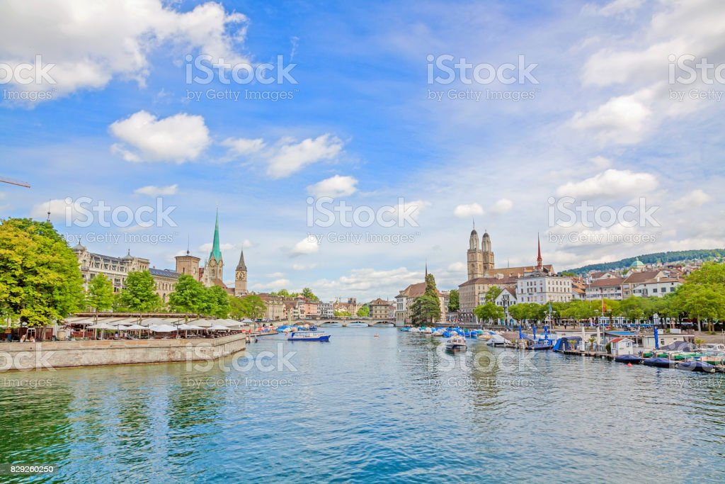 Zurich panorama with Grossmunster, Fraumunster and Sankt Peter from Quaibrucke stock photo