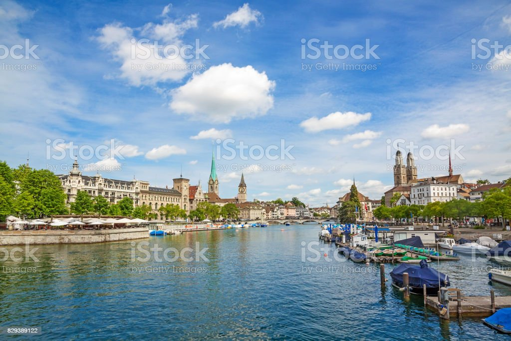 Zurich panorama with minster Grossmunster, Fraumunster and Sankt Peter stock photo