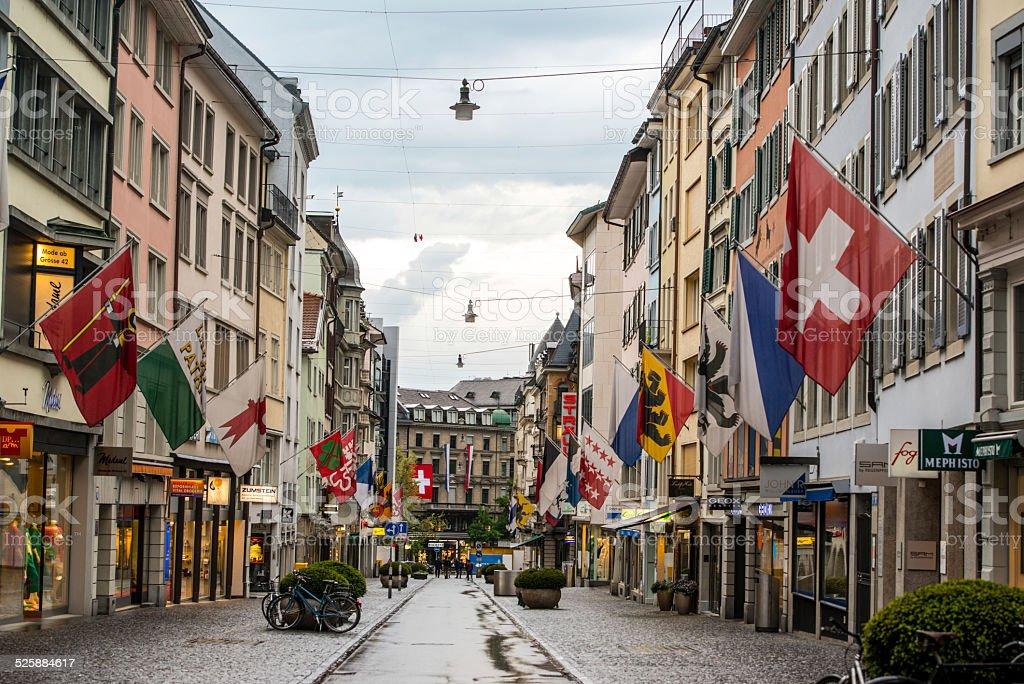 Zurich street under rain stock photo