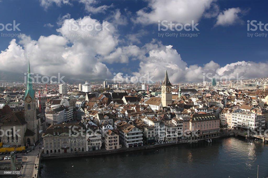 Zurich, Switzerland aerial view city stock photo