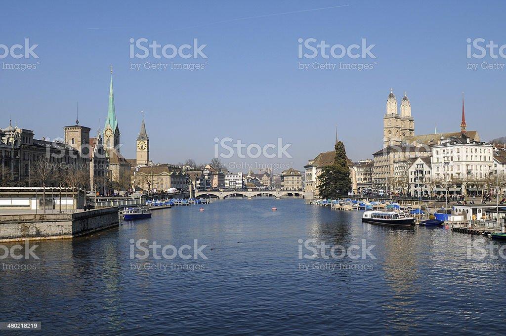 Zurich with Limmat stock photo