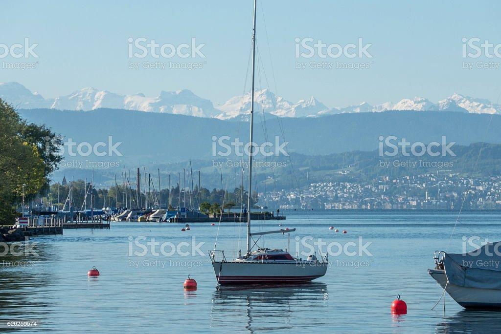 zurichsee from zurichhorn, Zurich, switzerland stock photo