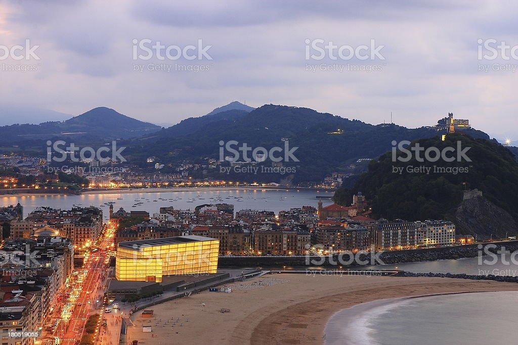 Zurriola beach in San Sebastian royalty-free stock photo