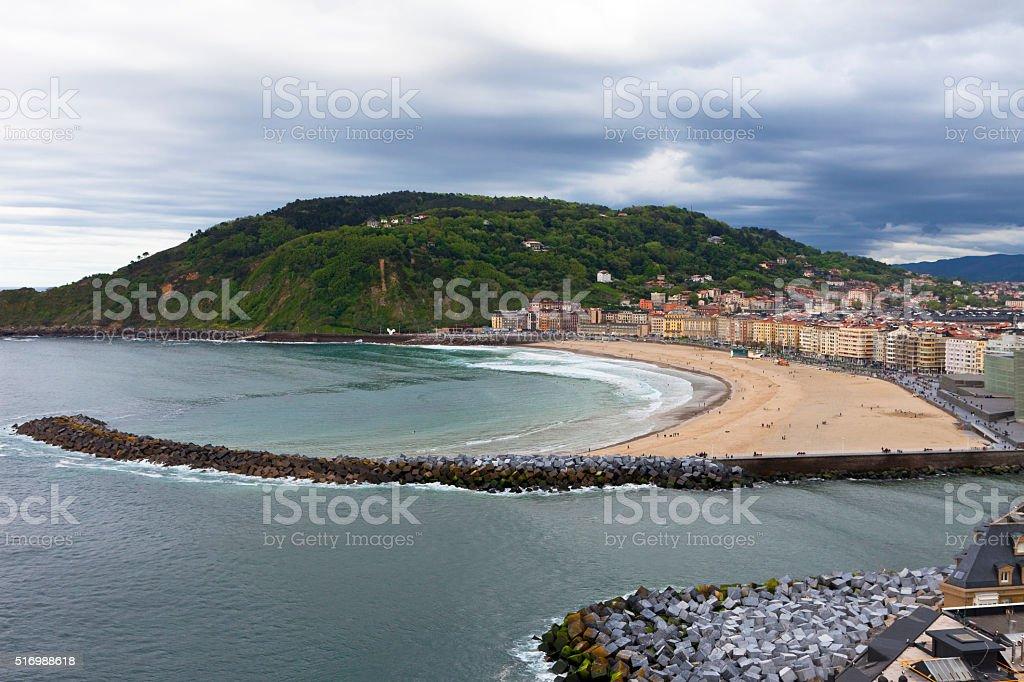 Zurriola beach stock photo
