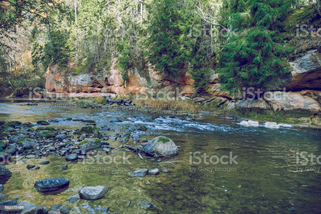 Zvarte rock at the river Amata in Latvia stock photo