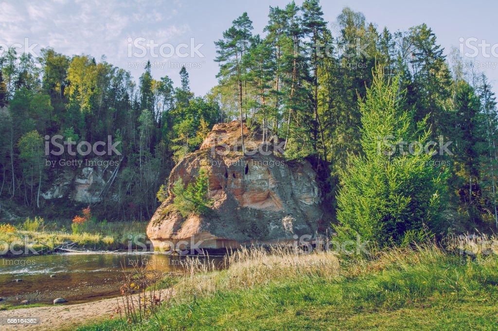 Zvarte rock at the river Amata in Latvia. stock photo