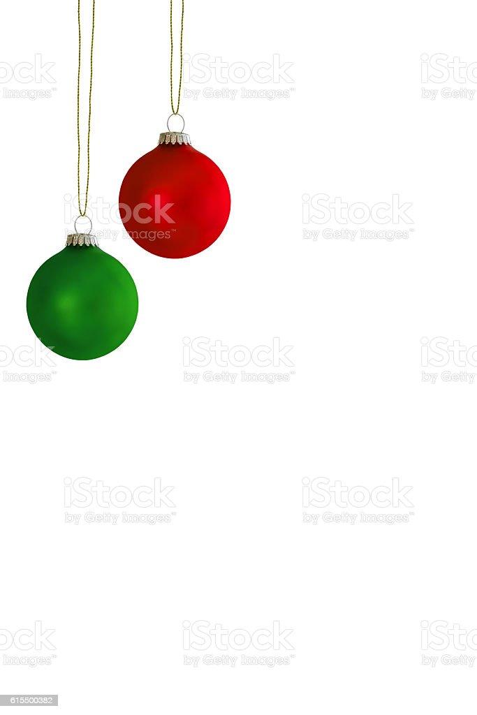 Zwei hängende Chistbaumkugeln stock photo