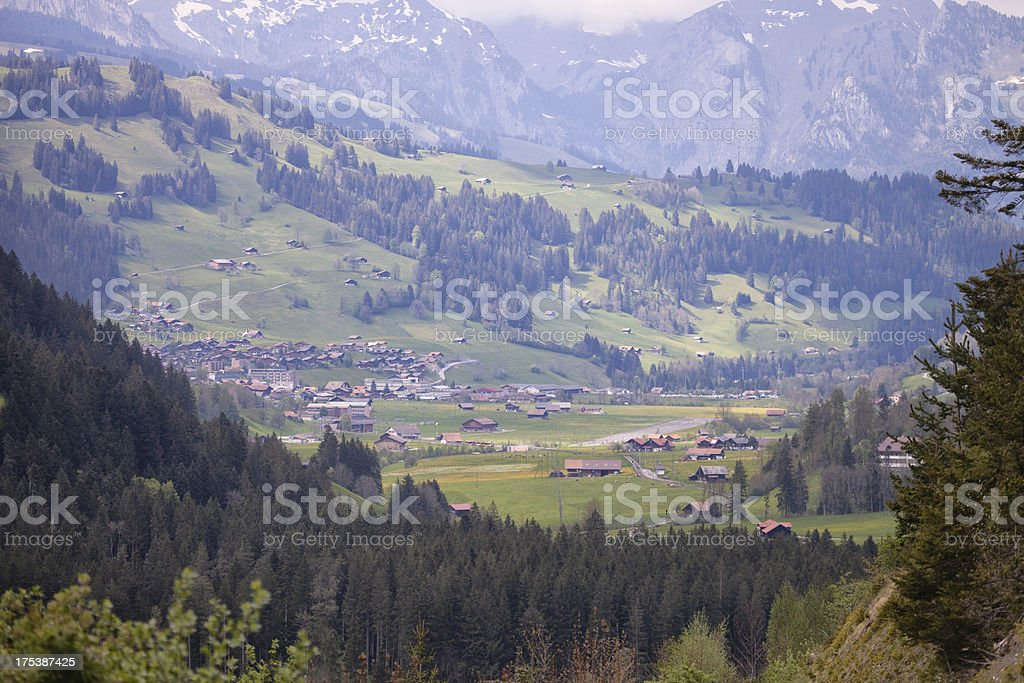 Zweisimmen, Bernese Oberland, spring afternoon, overcast with su stock photo