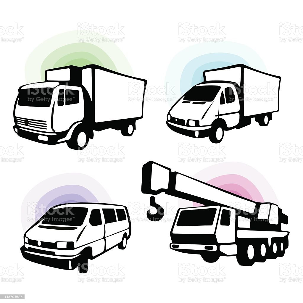 CARGO TRUCKS royalty-free stock vector art